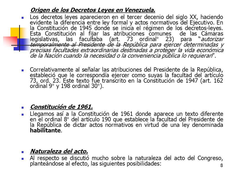 Origen de los Decretos Leyes en Venezuela.
