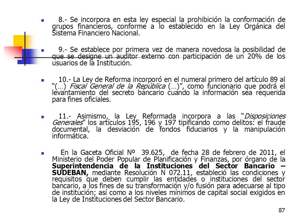 8.- Se incorpora en esta ley especial la prohibición la conformación de grupos financieros, conforme a lo establecido en la Ley Orgánica del Sistema Financiero Nacional.