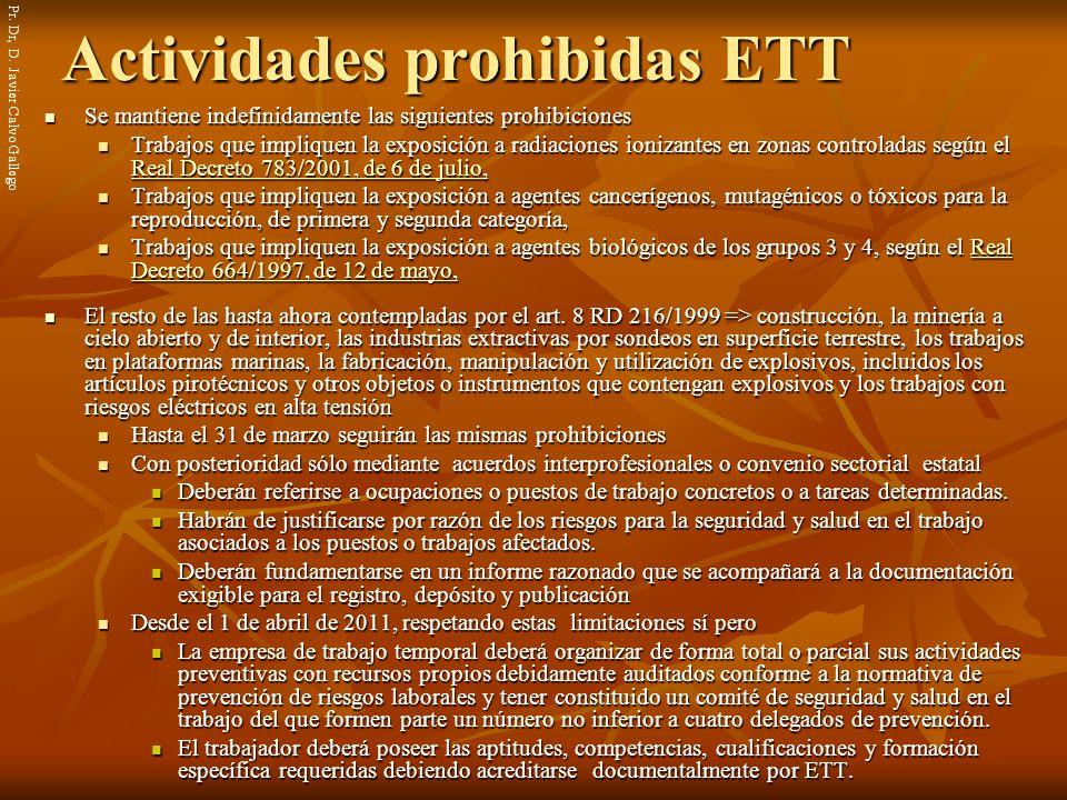 Actividades prohibidas ETT
