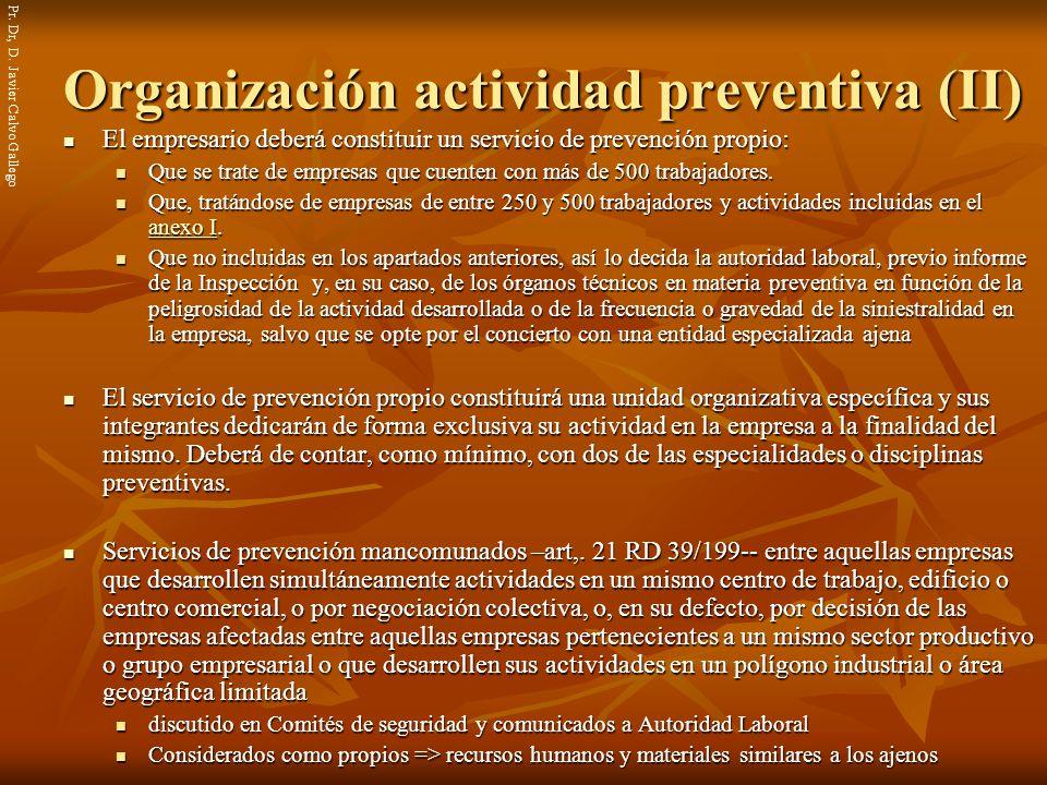 Organización actividad preventiva (II)