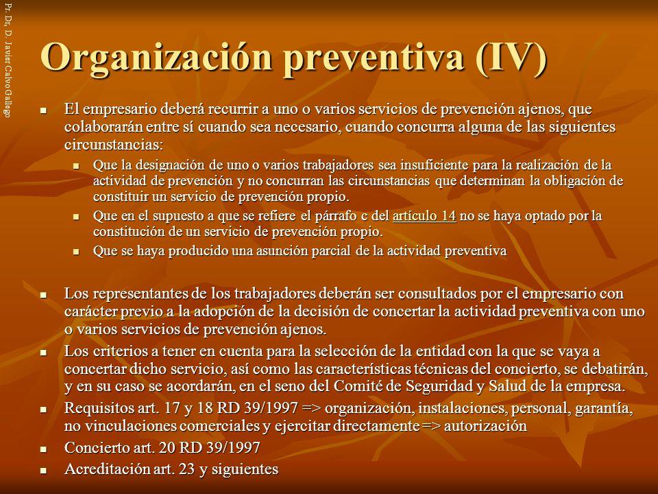 Organización preventiva (IV)
