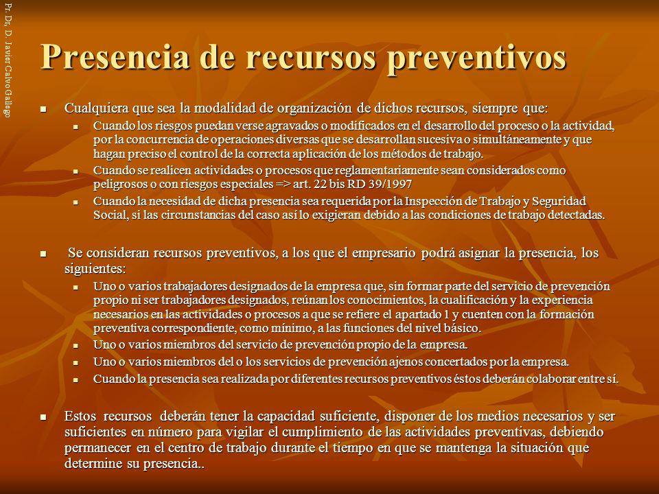 Presencia de recursos preventivos