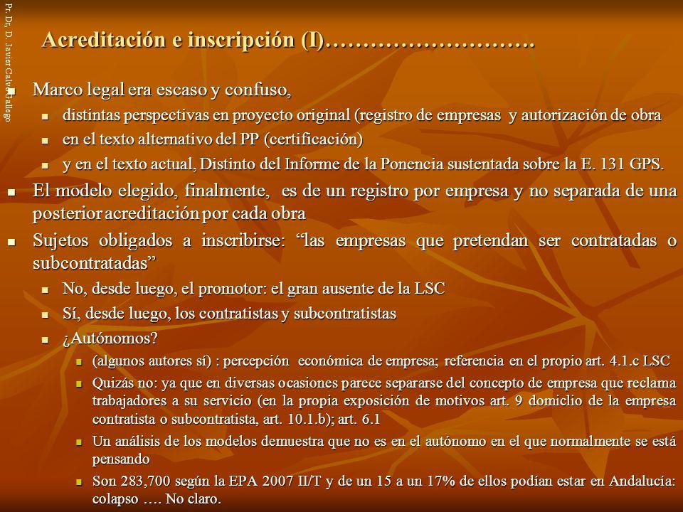 Acreditación e inscripción (I)……………………….