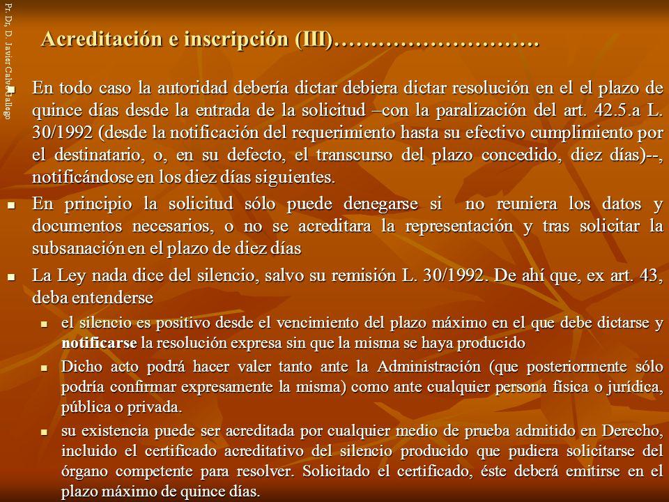 Acreditación e inscripción (III)……………………….