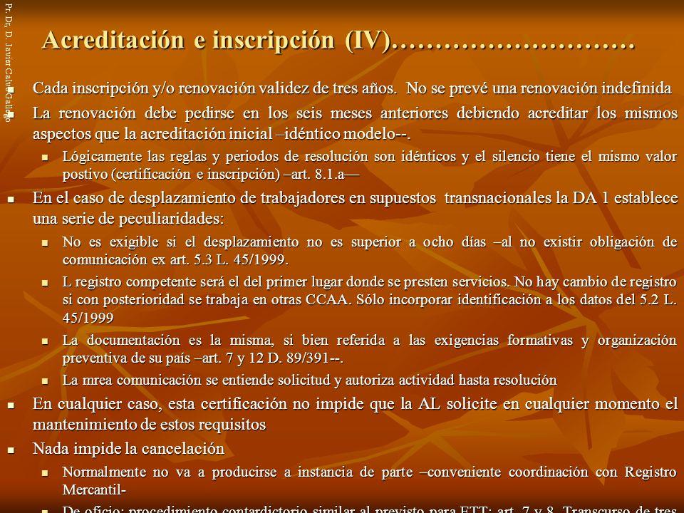 Acreditación e inscripción (IV)……………………….