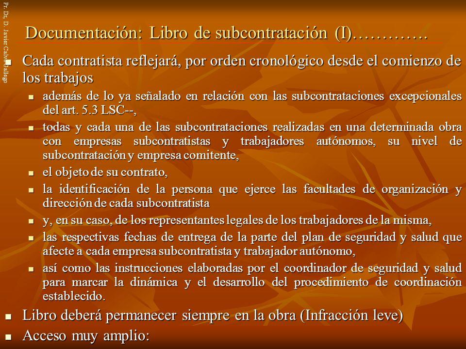 Documentación: Libro de subcontratación (I)………….