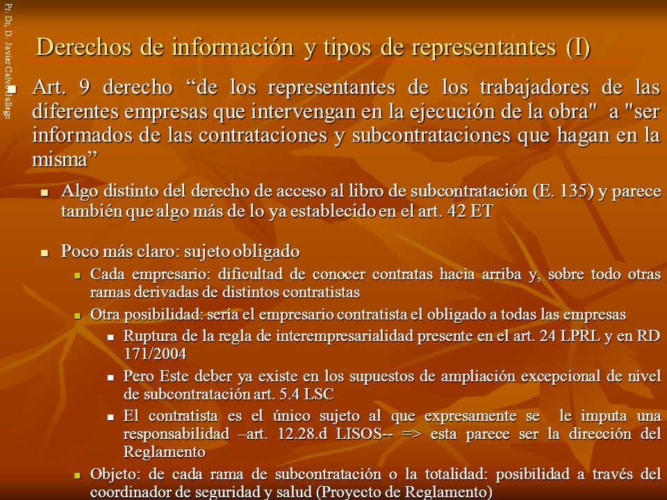 Derechos de información y tipos de representantes (I)