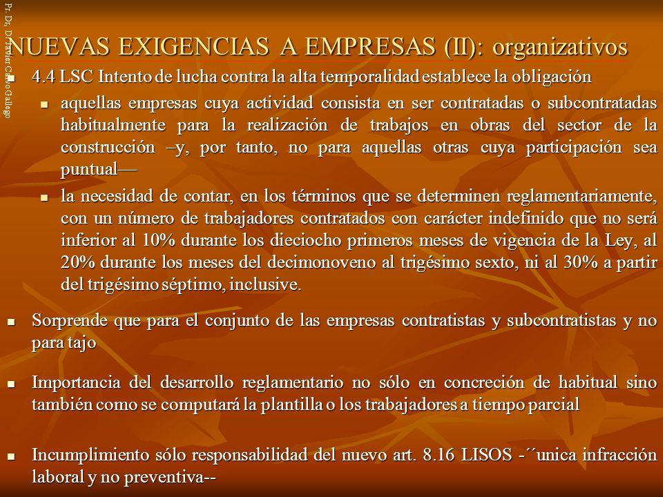 NUEVAS EXIGENCIAS A EMPRESAS (II): organizativos