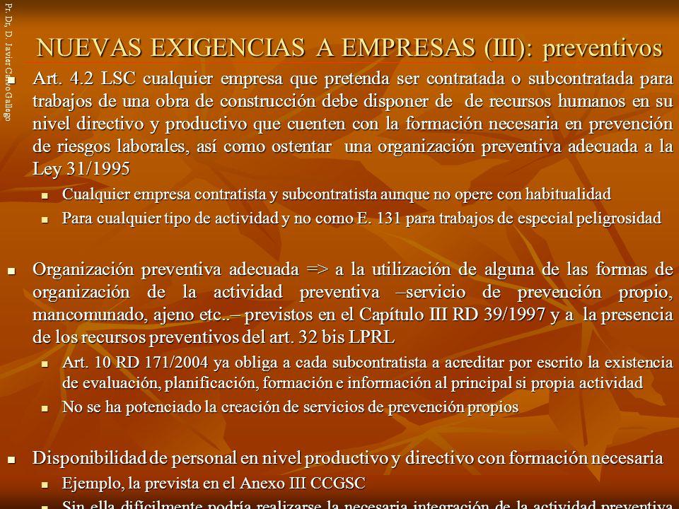 NUEVAS EXIGENCIAS A EMPRESAS (III): preventivos