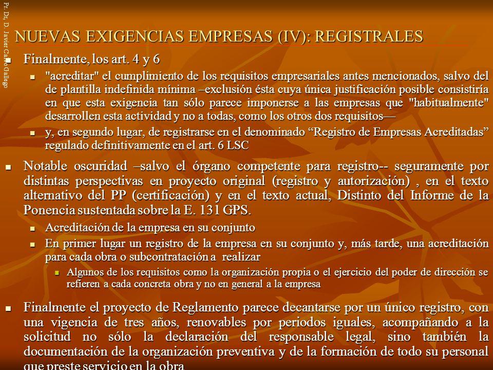 NUEVAS EXIGENCIAS EMPRESAS (IV): REGISTRALES