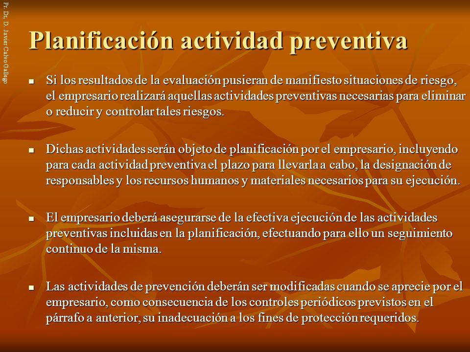 Planificación actividad preventiva
