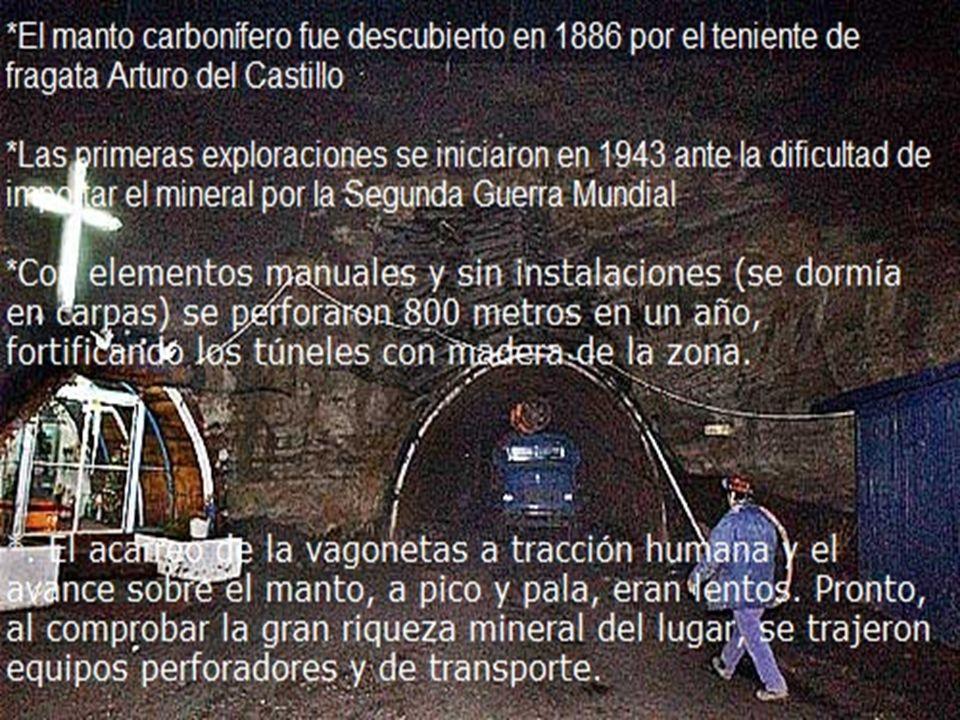 El manto carbonífero fue descubierto en 1886 por el teniente de fragata Arturo del Castillo Las primeras exploraciones se iniciaron en 1943 ante la dificultad de importar el mineral por la Segunda Guerra Mundial
