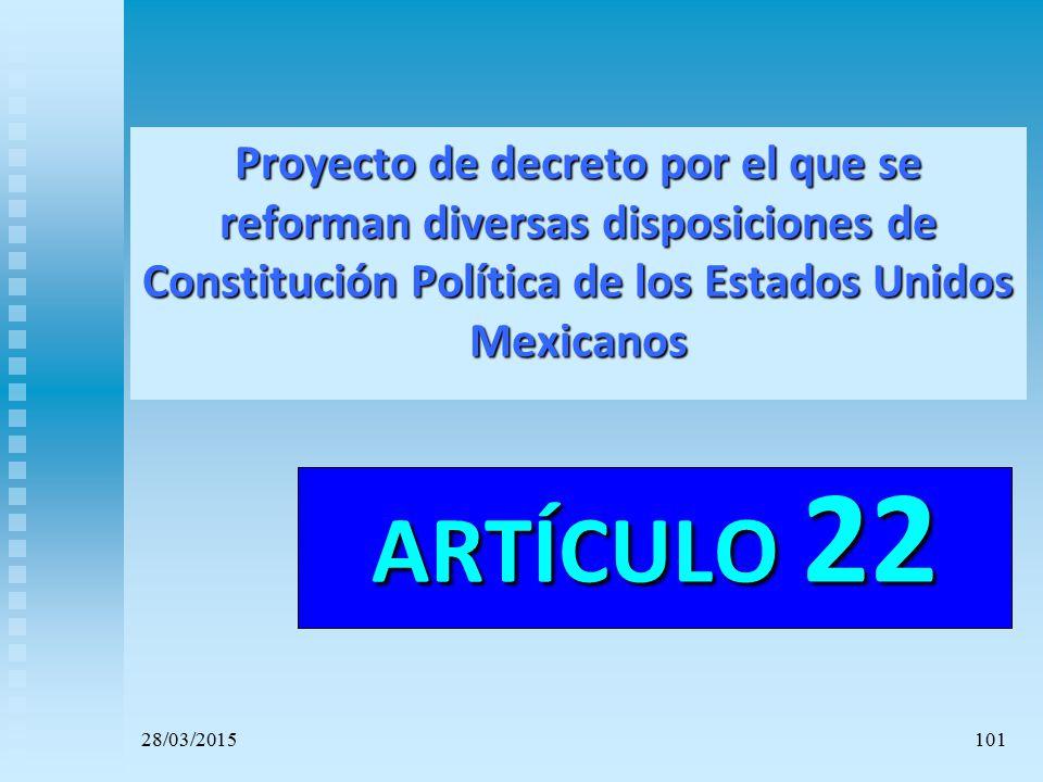 Proyecto de decreto por el que se reforman diversas disposiciones de Constitución Política de los Estados Unidos Mexicanos