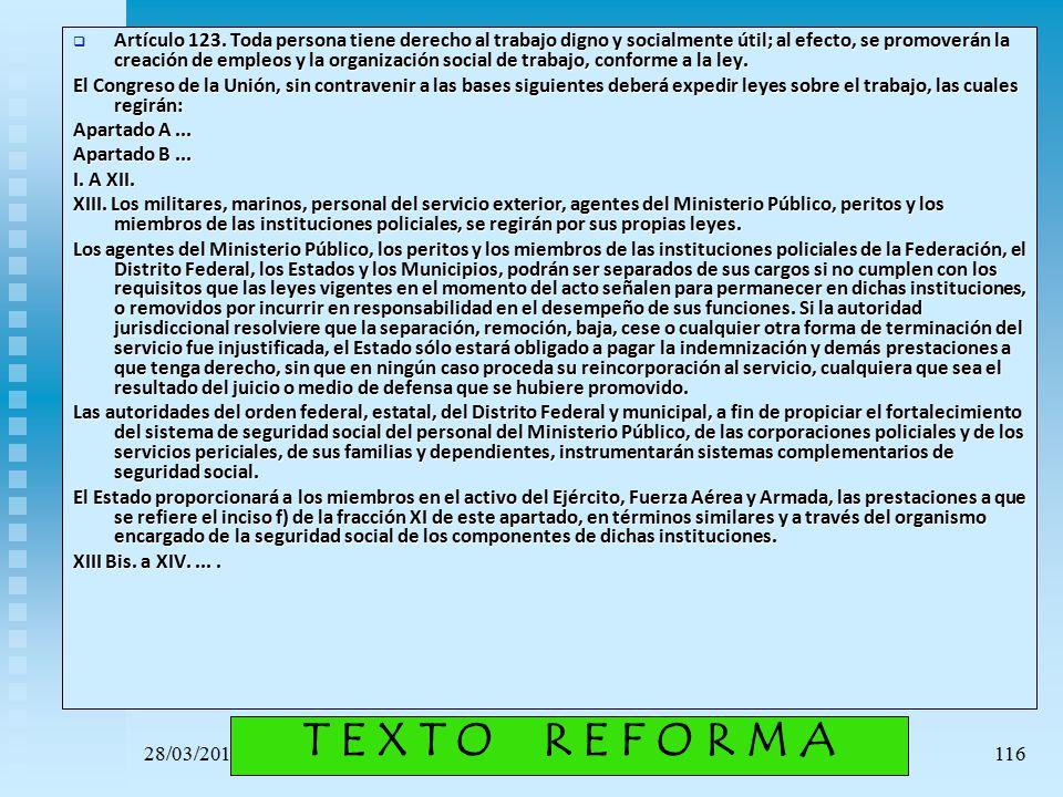 Artículo 123. Toda persona tiene derecho al trabajo digno y socialmente útil; al efecto, se promoverán la creación de empleos y la organización social de trabajo, conforme a la ley.