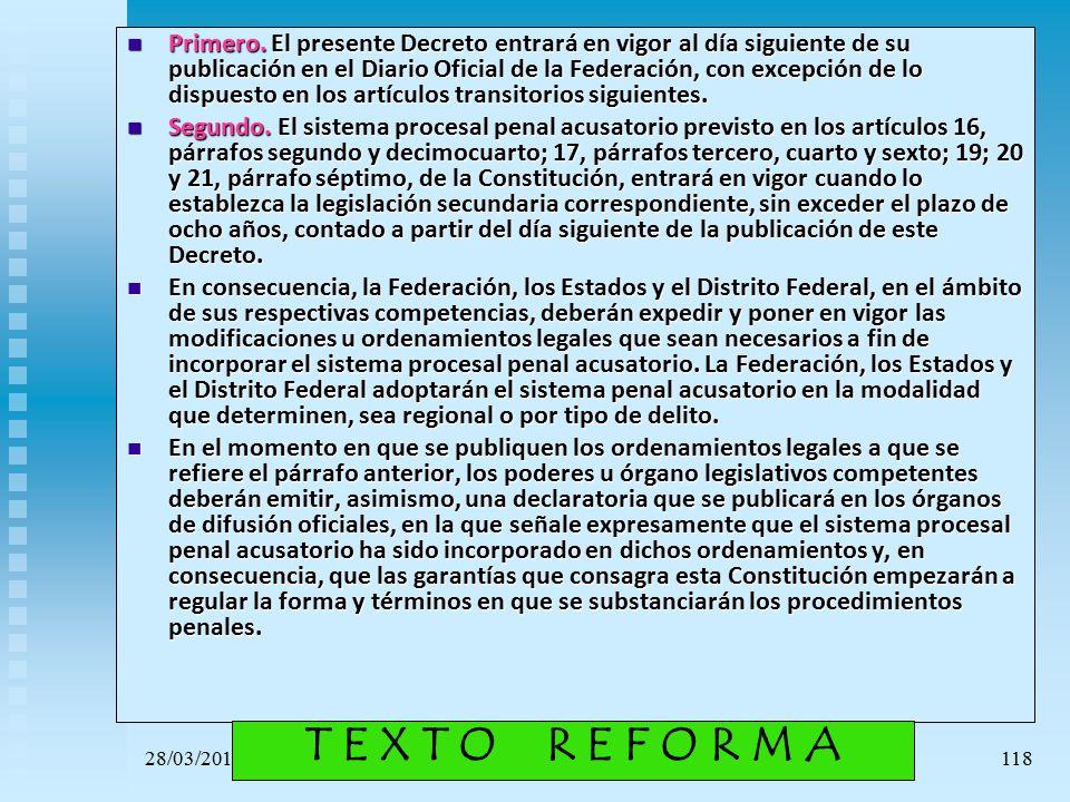 Primero. El presente Decreto entrará en vigor al día siguiente de su publicación en el Diario Oficial de la Federación, con excepción de lo dispuesto en los artículos transitorios siguientes.
