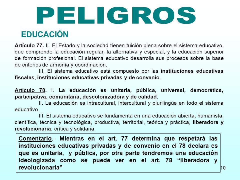 PELIGROS EDUCACIÓN.