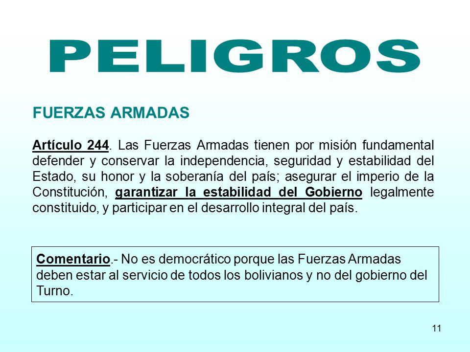 PELIGROS FUERZAS ARMADAS