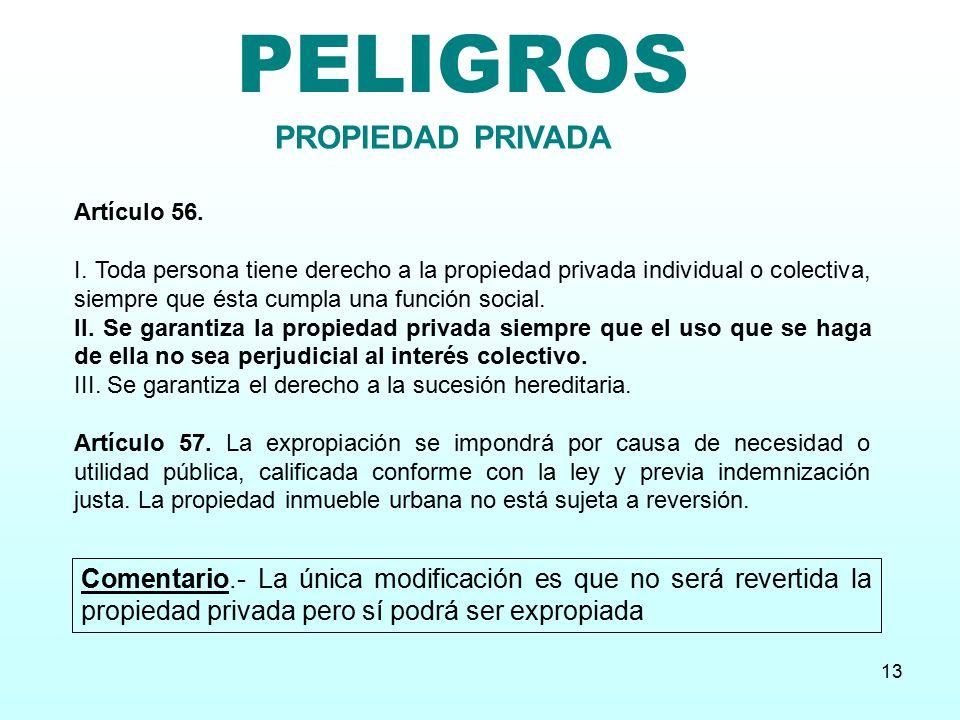 PELIGROS PROPIEDAD PRIVADA