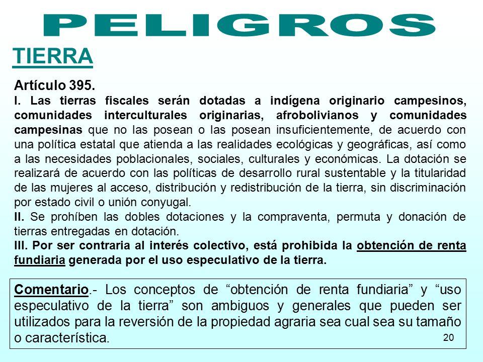 TIERRA PELIGROS Artículo 395.