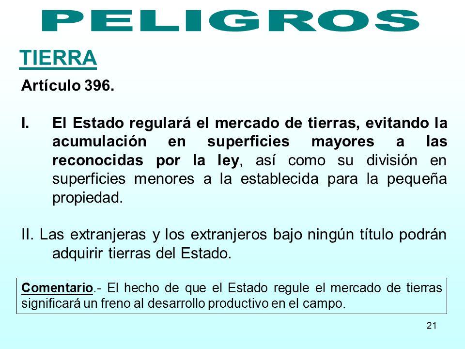 TIERRA PELIGROS Artículo 396.