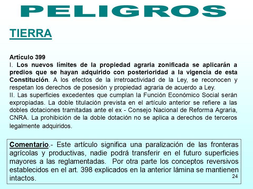 PELIGROS TIERRA. Artículo 399.