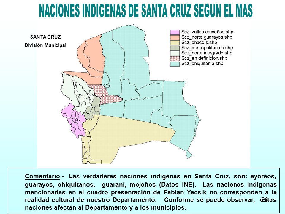NACIONES INDIGENAS DE SANTA CRUZ SEGUN EL MAS