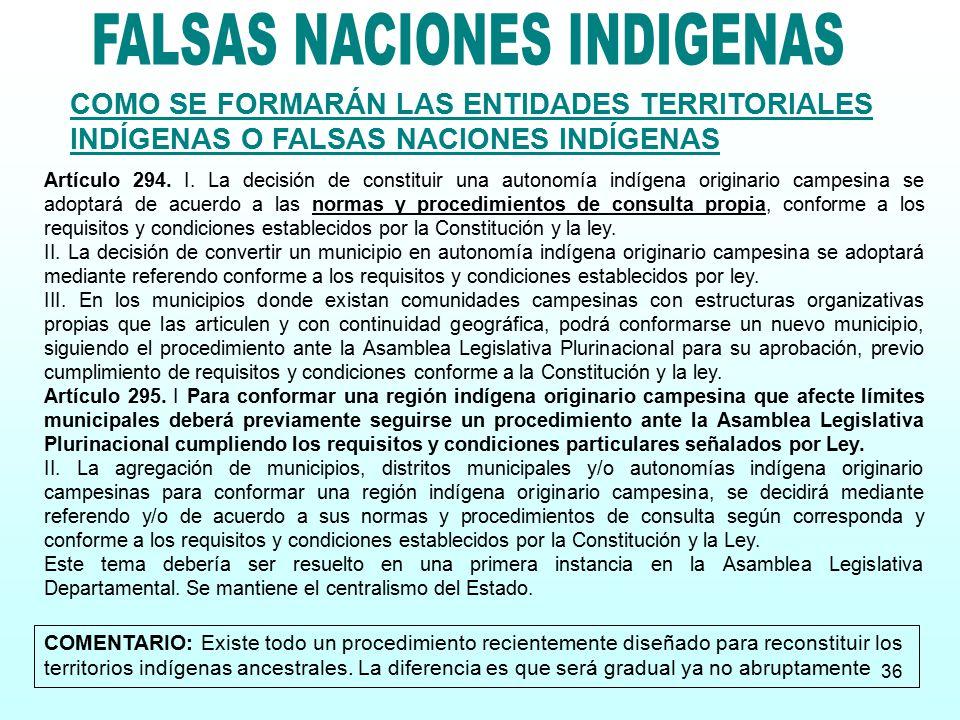 FALSAS NACIONES INDIGENAS