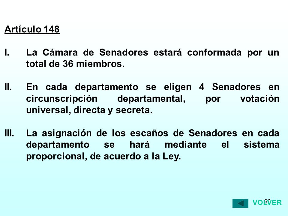 Artículo 148 I. La Cámara de Senadores estará conformada por un total de 36 miembros.