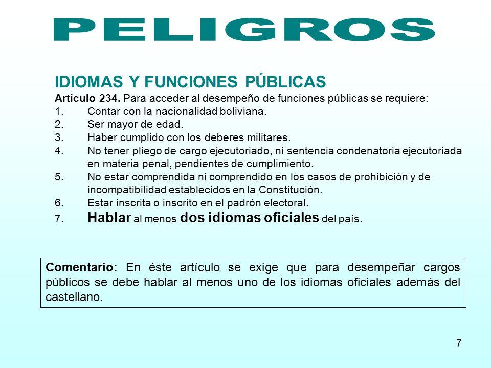 PELIGROS IDIOMAS Y FUNCIONES PÚBLICAS