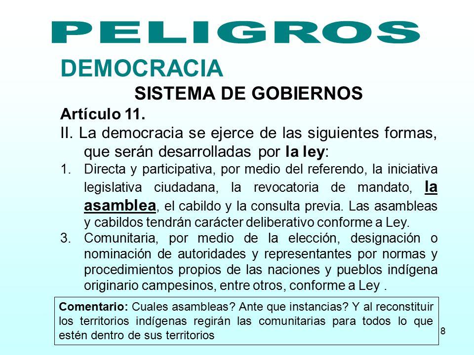 PELIGROS DEMOCRACIA SISTEMA DE GOBIERNOS Artículo 11.