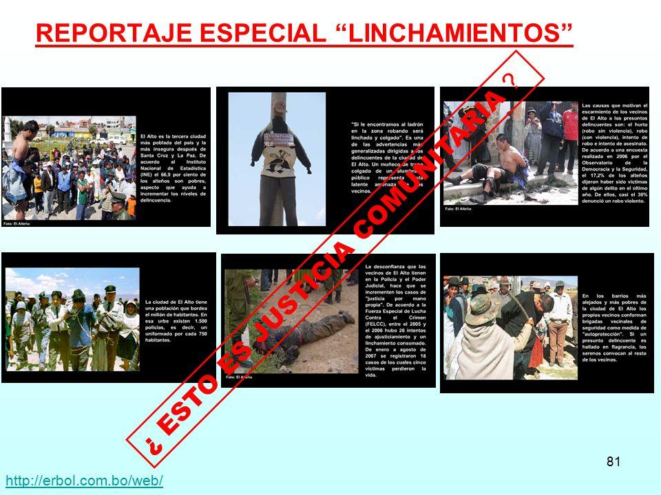 REPORTAJE ESPECIAL LINCHAMIENTOS