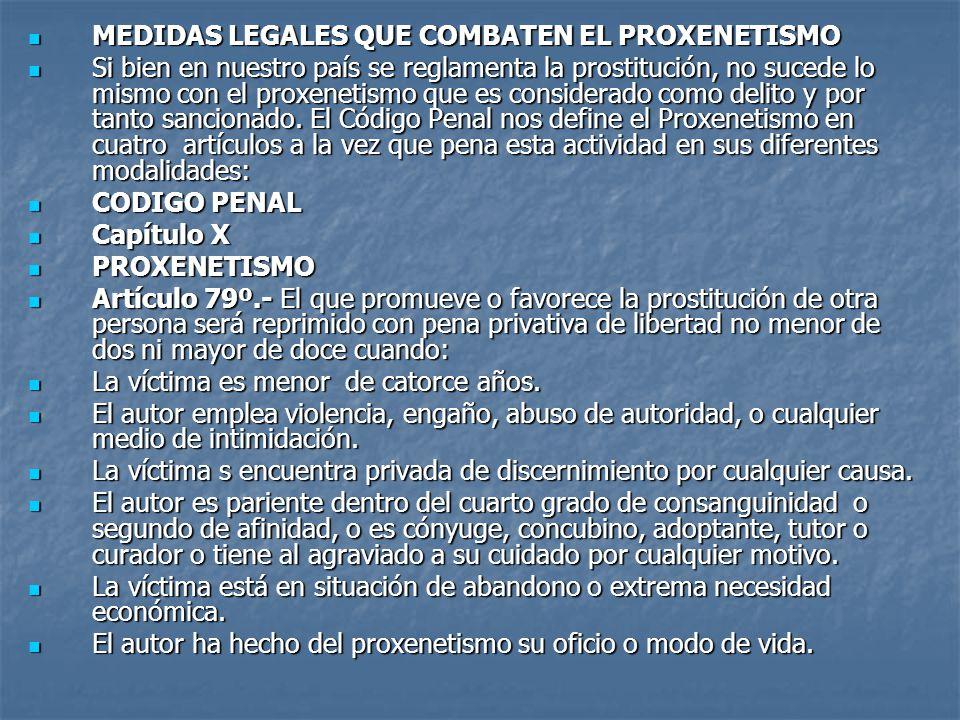 MEDIDAS LEGALES QUE COMBATEN EL PROXENETISMO