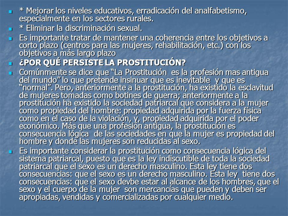* Mejorar los niveles educativos, erradicación del analfabetismo, especialmente en los sectores rurales.
