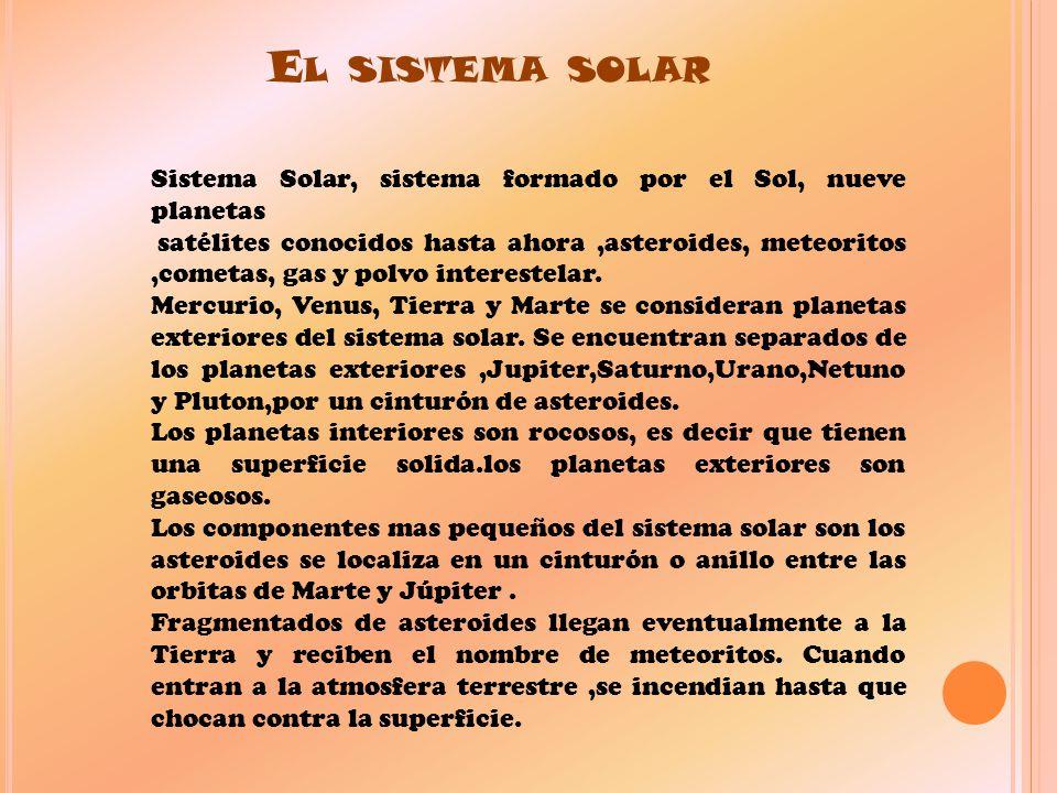 El sistema solar Sistema Solar, sistema formado por el Sol, nueve planetas.