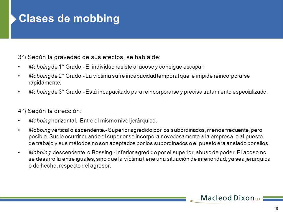 Clases de mobbing 3°) Según la gravedad de sus efectos, se habla de: