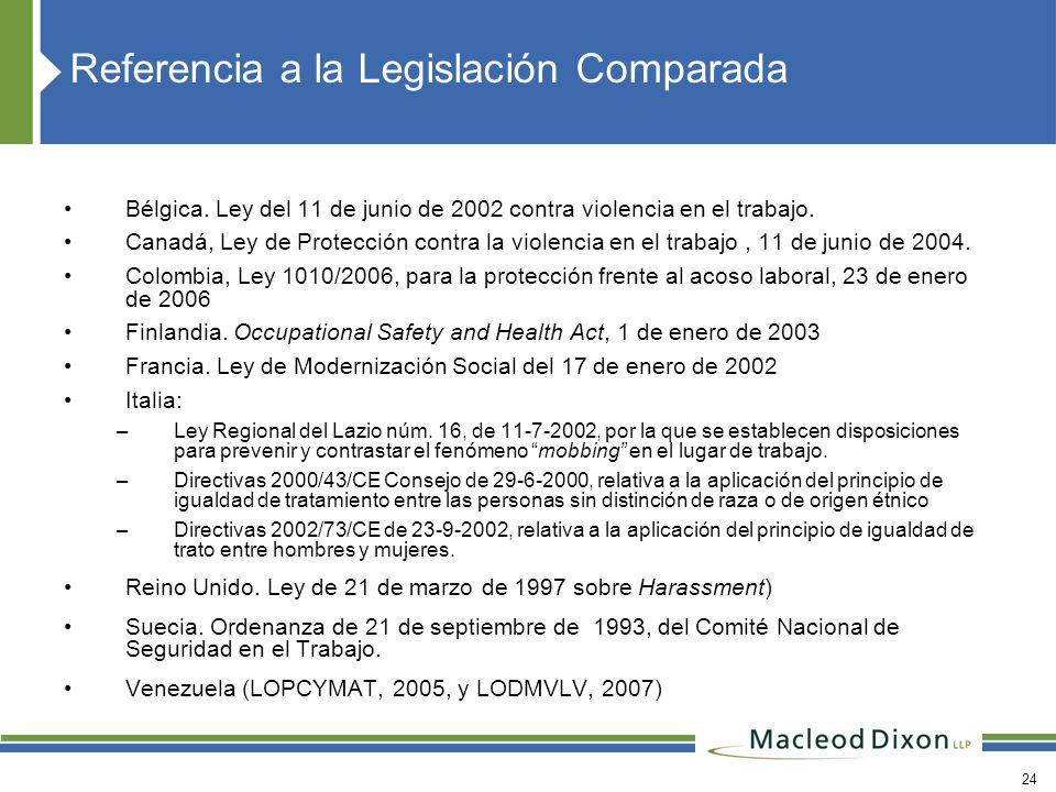 Referencia a la Legislación Comparada