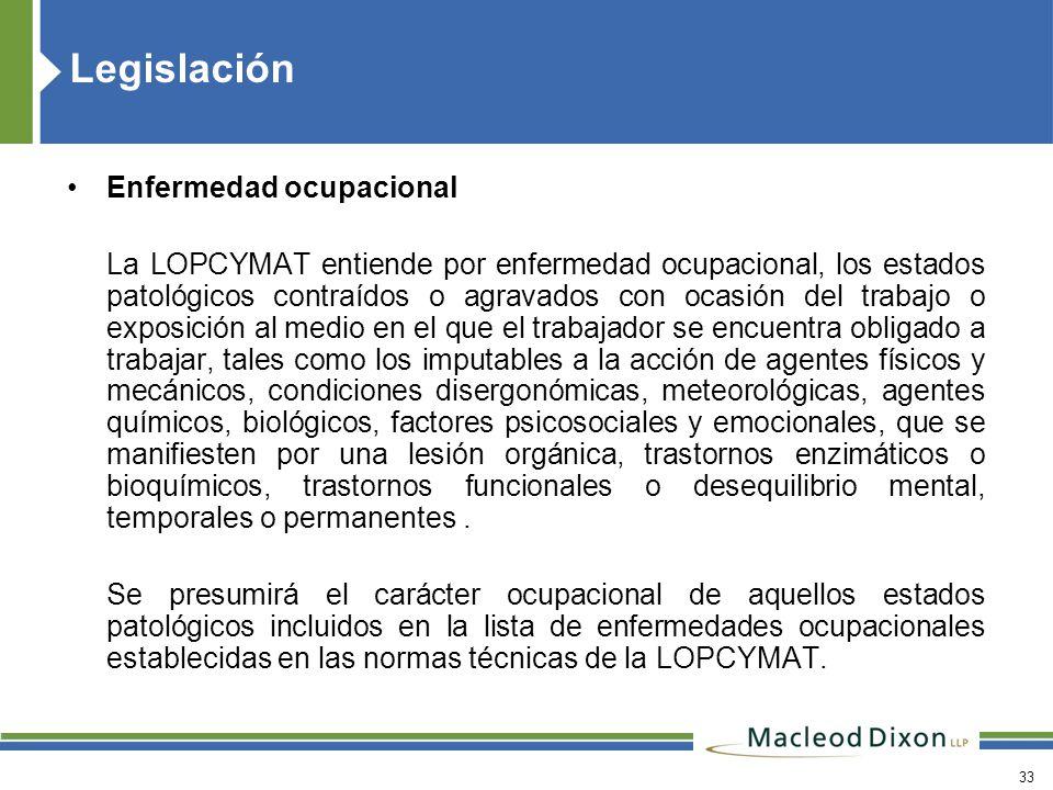 Legislación Enfermedad ocupacional