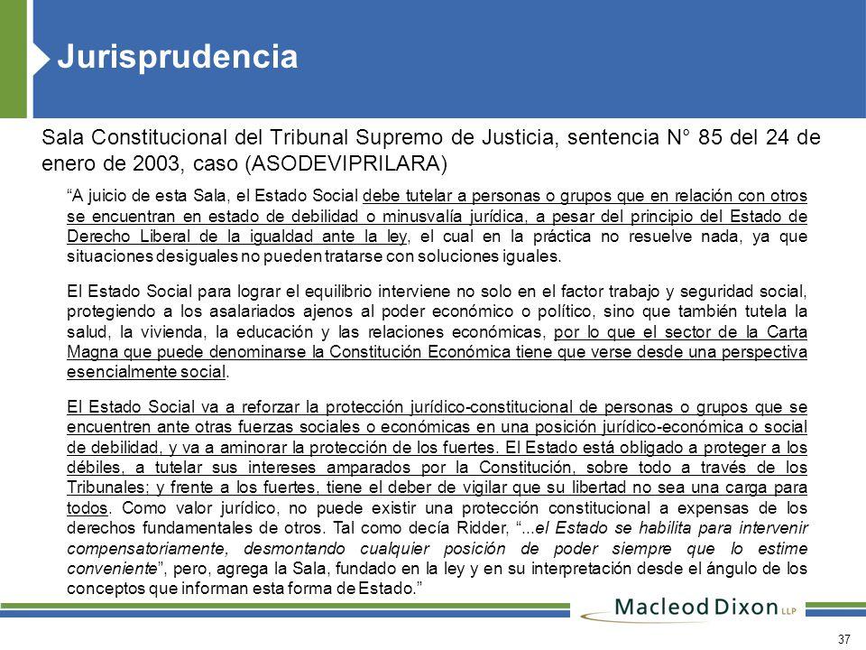 Jurisprudencia Sala Constitucional del Tribunal Supremo de Justicia, sentencia N° 85 del 24 de enero de 2003, caso (ASODEVIPRILARA)