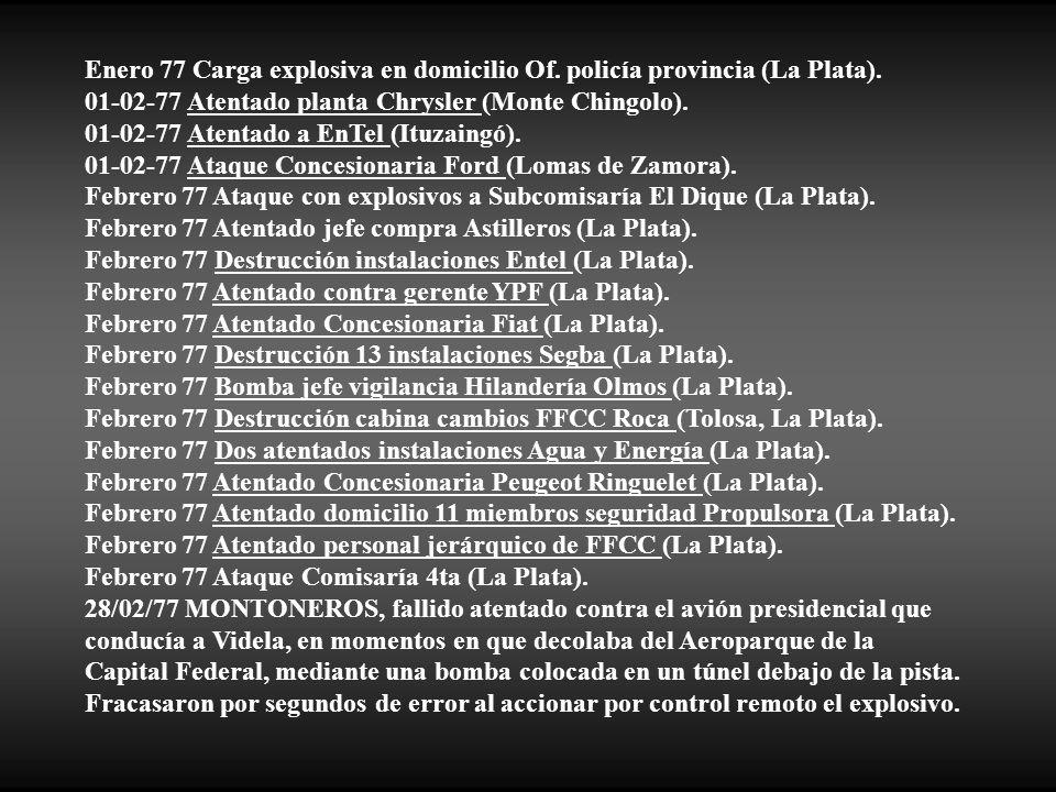 Enero 77 Carga explosiva en domicilio Of. policía provincia (La Plata).