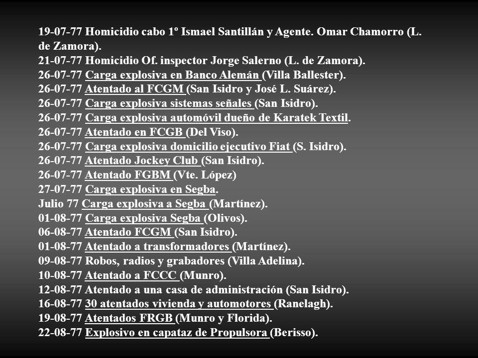 19-07-77 Homicidio cabo 1º Ismael Santillán y Agente. Omar Chamorro (L