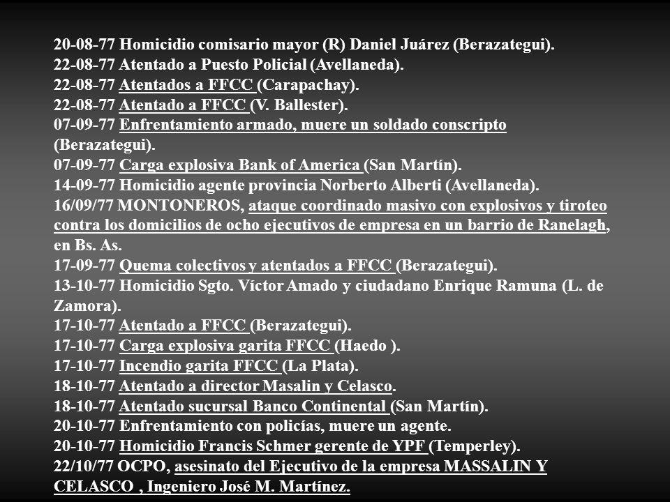 20-08-77 Homicidio comisario mayor (R) Daniel Juárez (Berazategui).