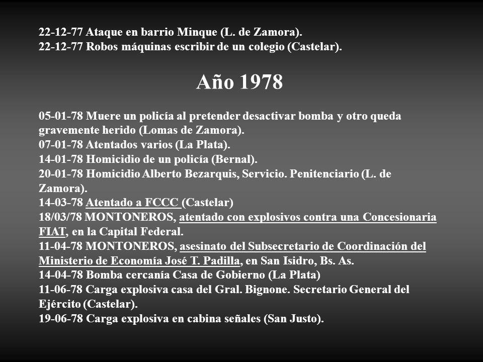 Año 1978 22-12-77 Ataque en barrio Minque (L. de Zamora).
