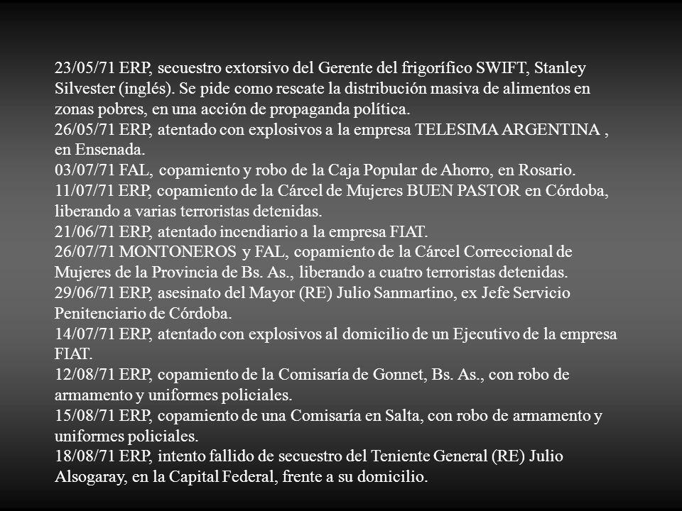 23/05/71 ERP, secuestro extorsivo del Gerente del frigorífico SWIFT, Stanley