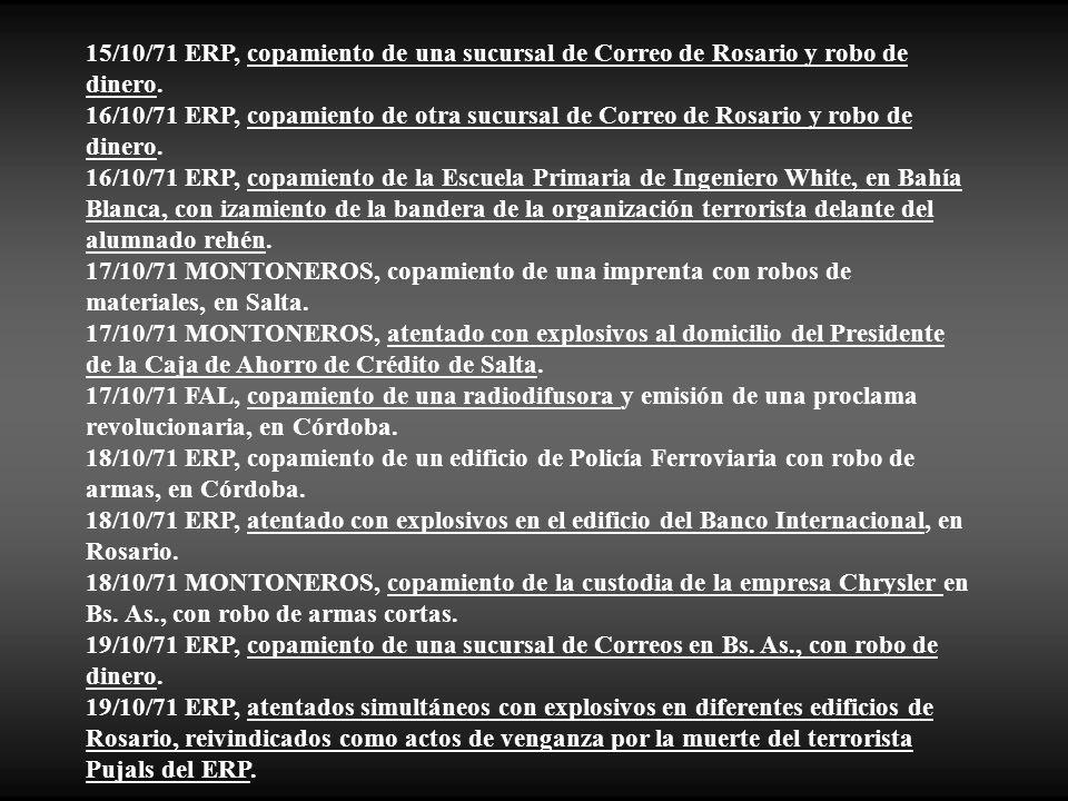 15/10/71 ERP, copamiento de una sucursal de Correo de Rosario y robo de dinero.