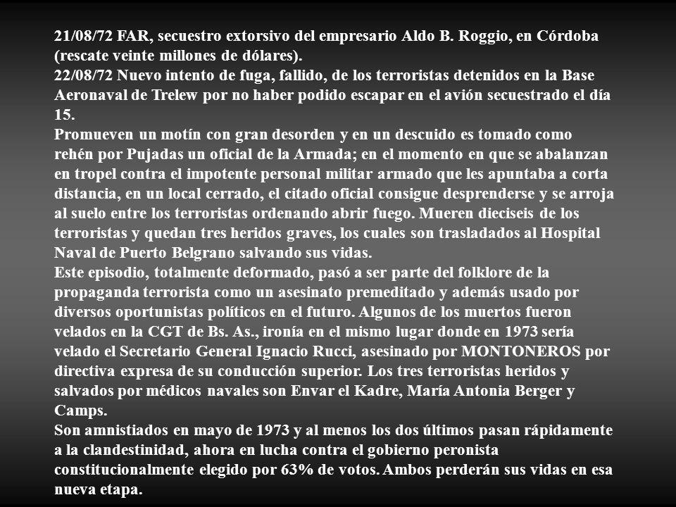 21/08/72 FAR, secuestro extorsivo del empresario Aldo B