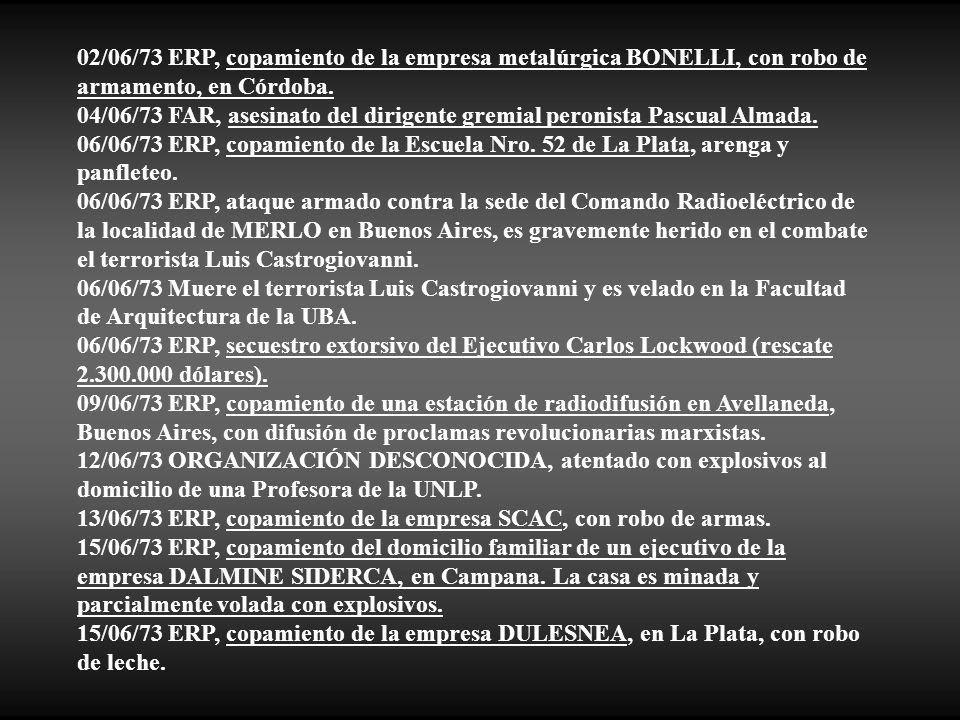 02/06/73 ERP, copamiento de la empresa metalúrgica BONELLI, con robo de armamento, en Córdoba.