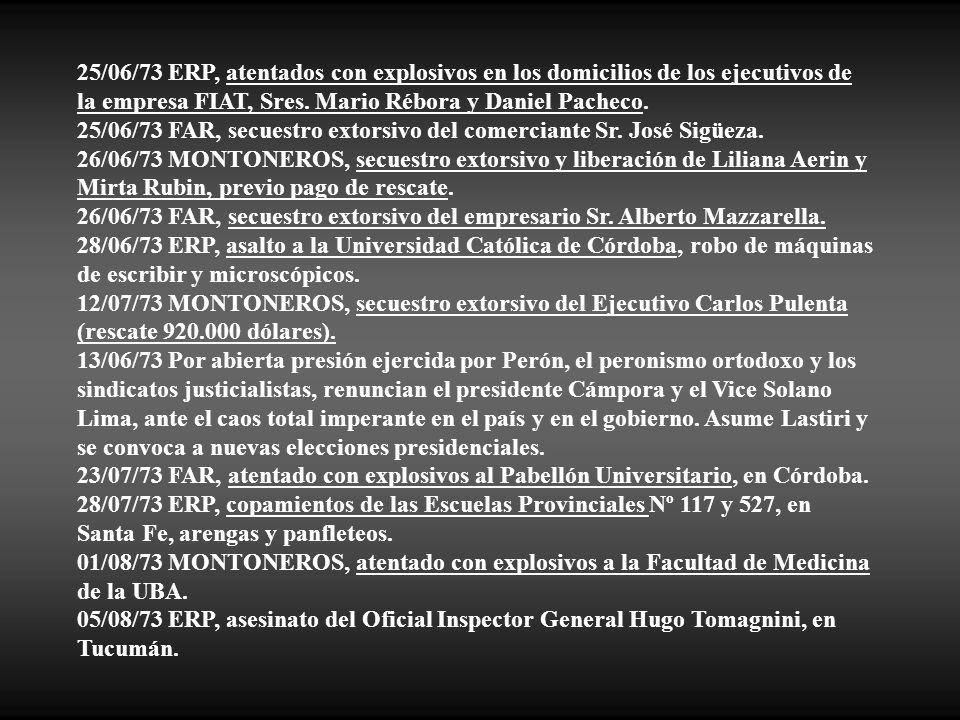 25/06/73 ERP, atentados con explosivos en los domicilios de los ejecutivos de la empresa FIAT, Sres. Mario Rébora y Daniel Pacheco.