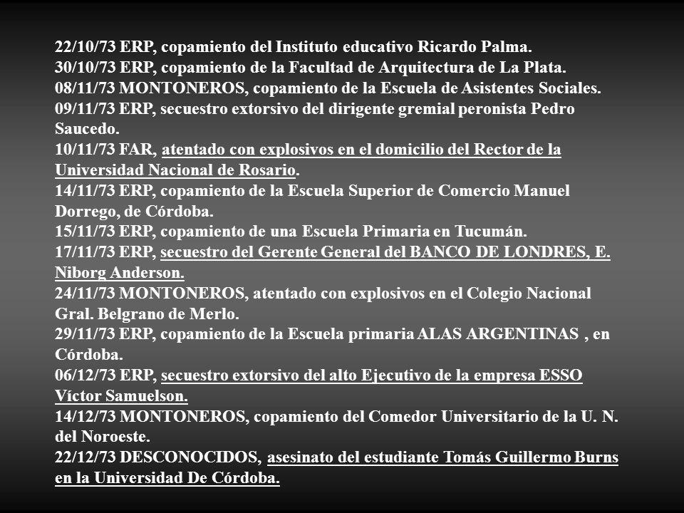 22/10/73 ERP, copamiento del Instituto educativo Ricardo Palma.