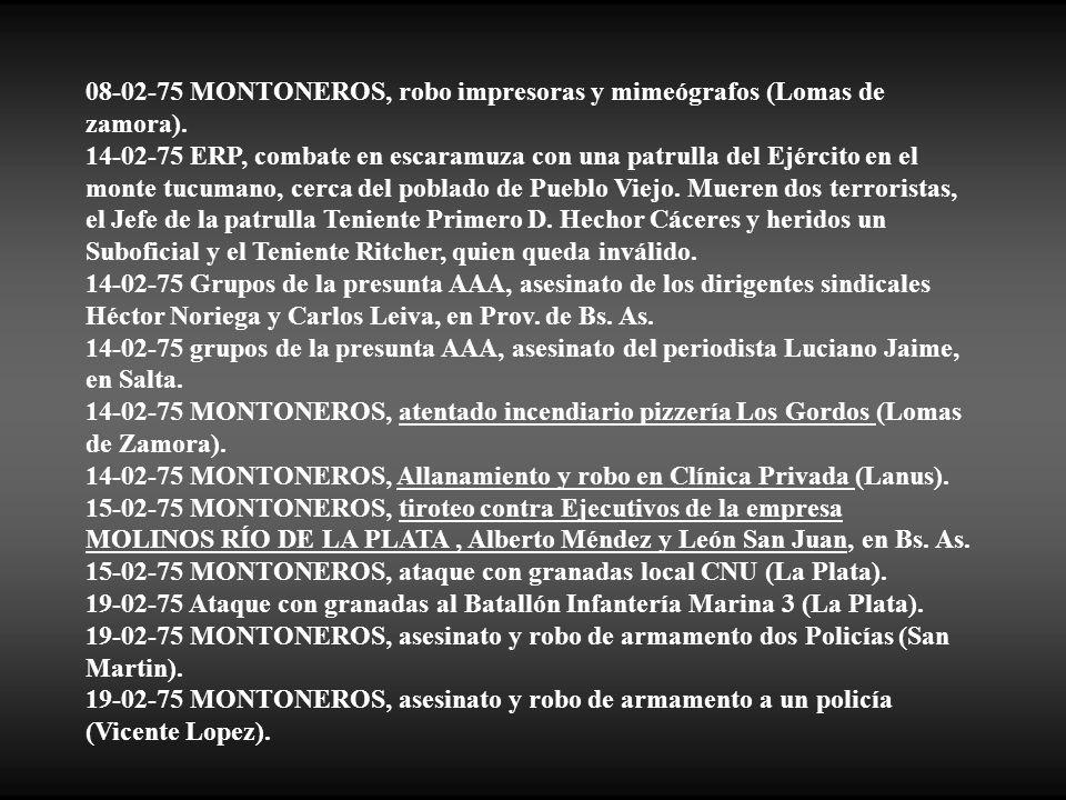 08-02-75 MONTONEROS, robo impresoras y mimeógrafos (Lomas de zamora).