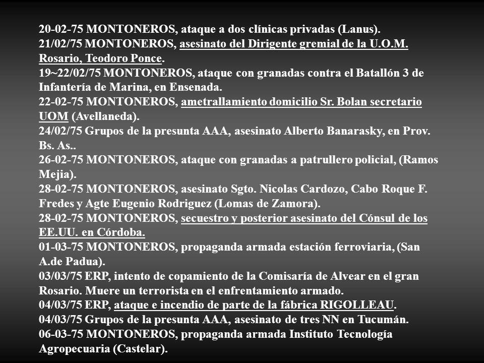 20-02-75 MONTONEROS, ataque a dos clínicas privadas (Lanus).
